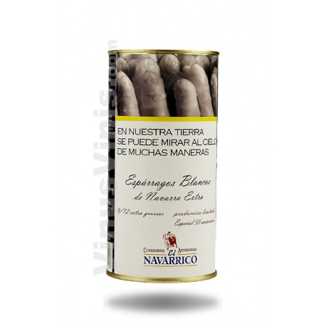 """El Navarrico Asperges Blanches de Navarra très Épais 9/12 """"Cojonudos""""  Boîte Cylindrique"""